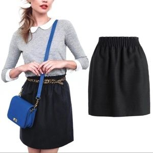 J.CREW Black Wool Sidewalk Mini Skirt 6 S 95435
